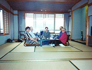 Enjoying Dinner at the ryokan with family